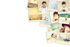Mosaic with pictures of kids in different situations and various objects. collage with retro effect Stock Photo