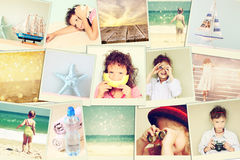 Mosaic with pictures of kids in different situations and various objects. collage with retro effect. Royalty Free Stock Images
