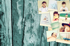Mosaic with pictures of kids in different situations and various objects. collage with retro effect Royalty Free Stock Image