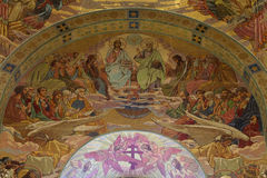 Mosaic pictures on the walls of the Church of the Savior on Bloo Stock Images