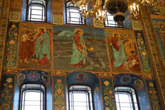 Mosaic pictures on the walls of the Church of the Savior on Bloo Royalty Free Stock Photos