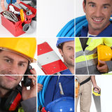 Mosaic of plumber. With equipment Stock Photos