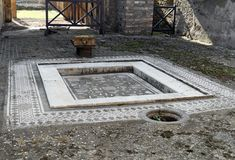 Mosaic and Pool in Pompeii royalty free stock photography