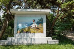 The mosaic portrait of young North Korean leader Kim Il-sung in Mangyongdae. royalty free stock images