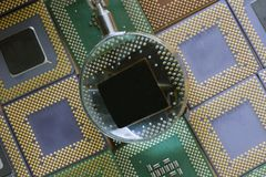 Mosaic of processors. Old and oldest cpu different brand Stock Photo