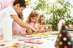 Mosaic puzzle art for kids, children`s creative game. Royalty Free Stock Photos