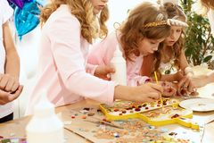 Mosaic puzzle art for kids, children`s creative game. Royalty Free Stock Photography