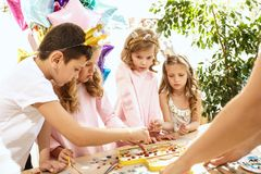 Mosaic puzzle art for kids, children`s creative game. Stock Image
