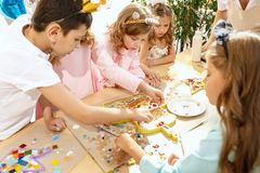 Mosaic puzzle art for kids, children`s creative game. Royalty Free Stock Image