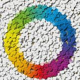 Mosaic of rainbow colors spectrum in uncommon circle Stock Image
