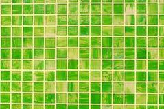 Mosaic rectangle brick of background. Background of rectangle mosaic  brick surface,green,yellow Stock Photography
