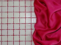 Mosaic and red silk Royalty Free Stock Photography