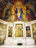 Mosaic religious figures inside the Church of the Dormition abbey. Mount Zion, Old city East Jerusalem, Israel stock photo