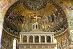 Mosaic representation of the Coronation of the Virgin, Basilica of Santa Maria in Trastevere. Pictured is the mosaic representation of the `Coronation of the royalty free stock photos