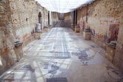 Mosaic at roman villa in sicily stock images