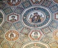 Mosaic at roman villa in sicily royalty free stock photo