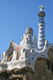Mosaic roof of little building in Guell park. royalty free stock photo