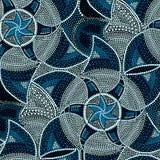 Mosaic round blue tiles with stars.  stock illustration