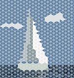 Mosaic sailing boat Royalty Free Stock Photo