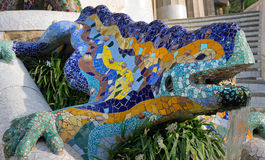 Mosaic salamander. Barcelona landmark, Spain. Royalty Free Stock Images