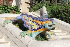 Mosaic salamander. At the entrance of Guell Park, Barcelona, Spain stock image