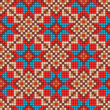 Mosaic seamless ethnic pattern background. Colorful mosaic seamless ethnic pattern background in blue, red, and beige colors Vector file editable, scalable and Stock Image