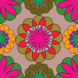 Mosaic seamless floral pattern.Vector pattern Stock Photography