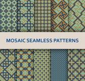 Mosaic seamless patterns set. Modern geometric textures Stock Photography