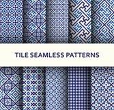 Mosaic seamless patterns set. Modern geometric textures Royalty Free Stock Images