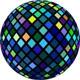Mosaic shimmer crystal 3d sphere object isolated. Blue yellow green glass texture. stock illustration
