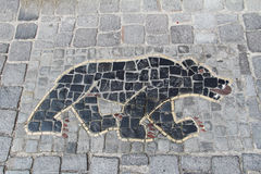 Mosaic on the sidewalk: bear. Stein Am Rhein. Switzerland. Mosaic on the sidewalk: bear. Stein Am Rhein, Switzerland Stock Photography