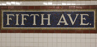Mosaic sign at The Fifth Avenue Subway Station in Manhattan Royalty Free Stock Photos