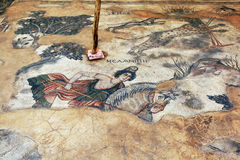 A mosaic at the site of Haleplibache in Urfa (Sanliurfa) in south-eastern Turkey. This mosaic depicts Amazon queen Melanippe hunting wild animals in the forest Stock Photo