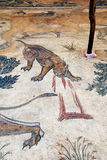 A mosaic at the site of Haleplibache in Urfa (Sanliurfa) in south-eastern Turkey. In this scene a panther bleeds after receiving a spear to the head from one Royalty Free Stock Photo