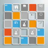 Mosaic Small Squares Infographic PiAd. Colored rectangles on the grey background. Eps 10 file stock illustration