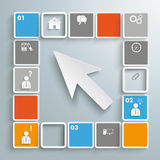 Mosaic Small Squares White Cursor Infographic. Colored squares on the grey background royalty free illustration
