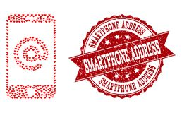Love Heart Composition of Smartphone Address Icon and Rubber Stamp. Mosaic smartphone address designed with red valentine hearts, and isolated grunge seal royalty free illustration
