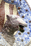 Mosaic snake by Gaudi in Park Guell, Barcelona, Spain Stock Image