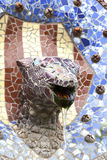 Mosaic snake by Gaudi in Park Guell, Barcelona, Spain.  stock image