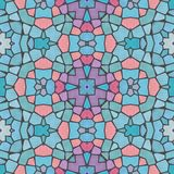 Mosaic soft bright blue decorative symmetrical patten royalty free stock image