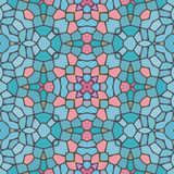 Mosaic soft bright blue decorative symmetrical patten stock photo