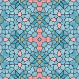Mosaic soft bright blue decorative symmetrical patten stock image