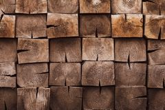 Mosaic of square bars, wooden planks. Brown slat, planch, bred wall. Vintage rustic close-up wood texture. Modern geometric patter stock images