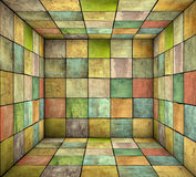 Mosaic square tiled grunge empty space in multiple color. 3d mosaic square tiled grunge empty space in multiple color Royalty Free Stock Photography