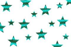 Mosaic Stars. Cyan and dark green mosaic stars on a White background Stock Photo