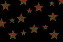 Mosaic Stars. Dark green and red mosaic stars on a black background Stock Photography