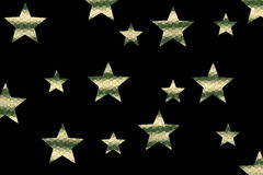 Mosaic Stars. Dark green and vanilla colored mosaic stars on a black background Stock Image