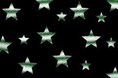 Mosaic Stars. Dark green and white mosaic stars on a black background Royalty Free Stock Photos