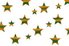 Mosaic Stars. Orange and dark green mosaic stars on a White background Royalty Free Stock Photos