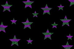 Mosaic Stars. Purple and dark green mosaic stars on a black background Stock Photo